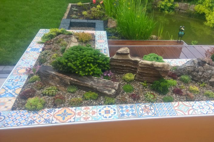 Terrace with ceramic tiles
